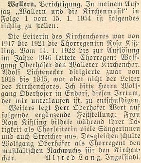 Tisková oprava v březnovém čísle krajanského měsíčníku z roku 1954 se týká jeho podílu na práci chrámového sboru ve Volarech vletech 1922-1946