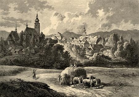 Kaplice na ilustraci Vojtěcha Brechlera z konce 19. století pro Ottovu edici Čechy
