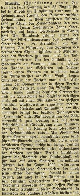 Článek českobudějovického německého listu o odhalení pamětní desky v Kaplici na domě, kde skonal...