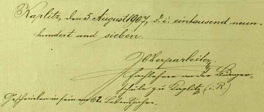 """Ozdobný titulní list kaplické """"pamětní knihy"""", kterou začal psát v roce 1907, kdy mu bylo 62 let, jak sám podotkl u svého podpisu pod jejím úvodem"""
