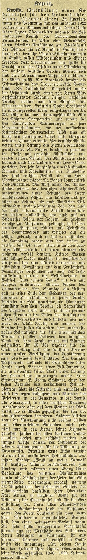 ... a ještě jedna rozsáhlejší zpráva - akt se konal téhož dne jako odhalení pamětní desky Josefu Ganglovi vNěmeckém Benešově, tj. v neděli 22. srpna roku 1926