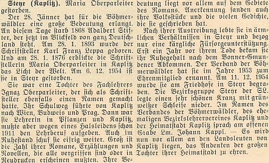 Nekrolog na stránkách krajanského měsíčníku i s datem jejího pohřbu v hornorakouském Steyru