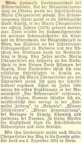 Připomínka autorčina života a díla a krajanském večeru ve Vídni k jejím nedožitým osmdesátinám, jak o něm referoval krajanský něsíčník koncem roku 1956