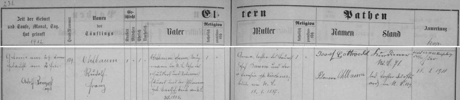 Záznam o jeho narození v matrice Dolní Lipové (dnes Lipová-Lázně)