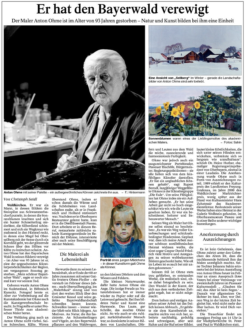 Nekrolog v bavorském tisku