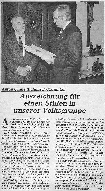 K jeho ocenění německým Spolkovým záslužným křížem vyšel v oficiálním orgánu krajanského sdružení tento článek