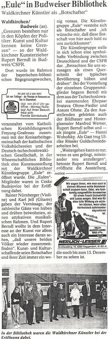 ... a článek o této výstavě v bavorském tisku - na snímku, který ho doprovází, jsou manželé Ohmeovi zachyceni pospolu