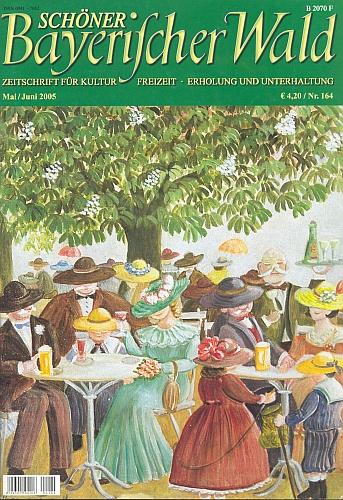 """Obraz jeho ženy, naivní malířky Svatavy Ohme-Fiedlerové, na obálce časopisu """"Krásný Bavorský les"""" zachycuje místní idylu """"hospody pod kaštany"""""""