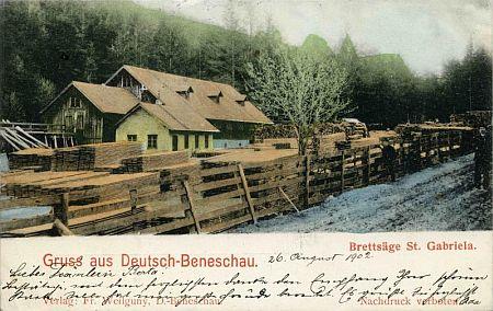 """""""Buquoyská"""" pila Gabriela v Německém Benešově a snímek toho, co z ní roku 2008 zbylo v dnešním Benešově nad Černou"""