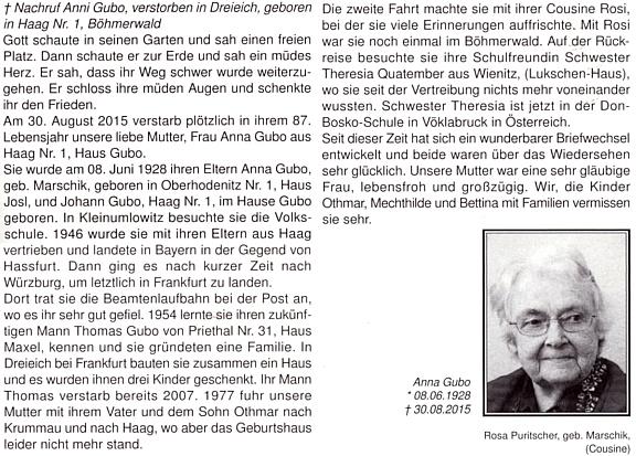 Nekrolog paní Anni Gubo z Haagu čp. 1 na stránkách krajanského měsíčníku