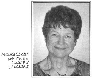 Podobenka jeho zemřelé ženy Walburgy doprovází nekrolog, který napsal do krajanského měsíčníku