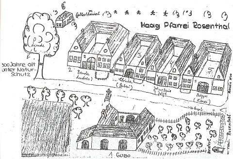 Čp. 5 v Zahrádce na nákresu, doprovázejícím článek Hanse Opfoltera