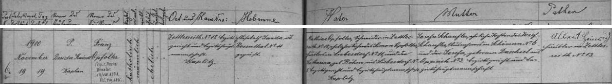 Záznam o otcově narození v Sedlíkově ze stránek křestní matriky farní obce Rožmitál na Šumavě