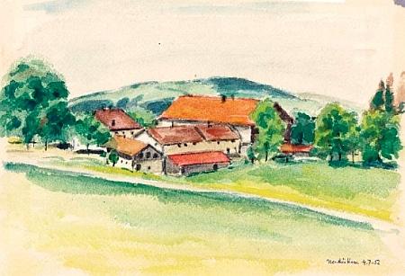 Jeho krajiny, zachycující kresebně Finsterau s okolím