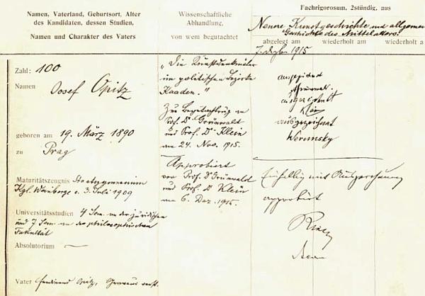 """Rigorózní protokol z roku 1915, na němž vidíme za ohodnocením """"výborně"""" i příjmení """"Werunsky"""""""