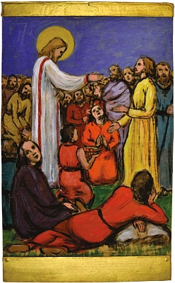 """Jeho akvarel s názvem """"Ježíš káže zástupům"""""""