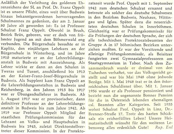 U příležitosti udělení zlatého čestného odznaku Sudetoněmeckého krajanského sdružení     se o něm takto rozepsal na stránkách krajanského měsíčníku Rupert Essl