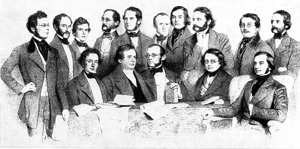 Profesorské kolegium vídeňské univerzity v roce 1853 na litografii Augusta Prinzhoffera (1816-1885) - Oppolzer je tu zpodoben stojící čtvrtý zprava