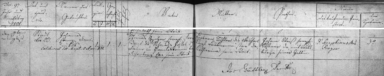 Dítě, pokřtěné jmény Johannes Franz Dominicus, se narodilo v městě Nových Hradech Thomasi Oppolzerovi a jeho ženě Barbaře, roz. Kunzlové