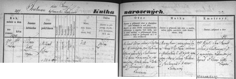 Záznam matriky v Trhových Svinech o narození jeho děda Michaela i s přípisem o jeho smrti v roce 1944