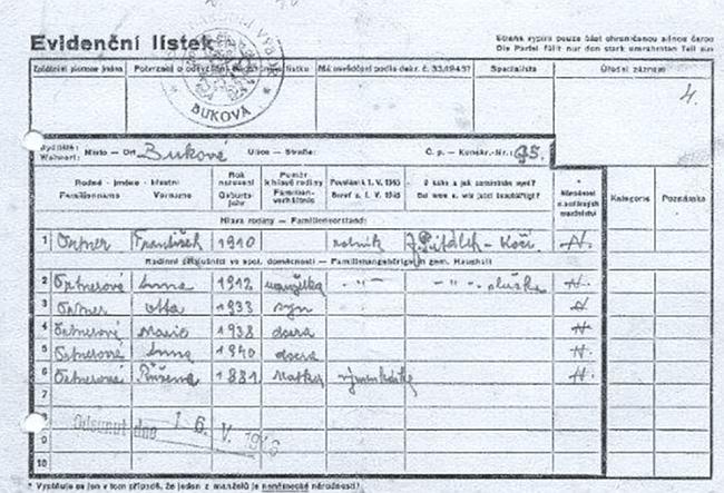 """Evidenční lístek rodiny Ortnerovy, tj. jeho rodičů a jejich 4 dětí včetně něj, vypsaný k """"odsunu"""""""
