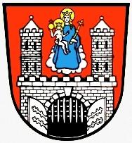 Znak města Münnerstadt, jeho bydliště v Dolních Frankách (Unterfranken)