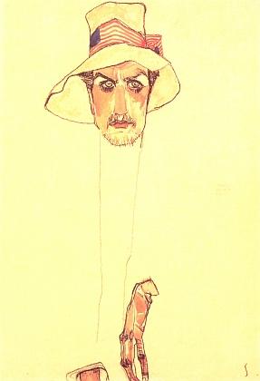 Muž s klopákem, akvarel z roku 1910
