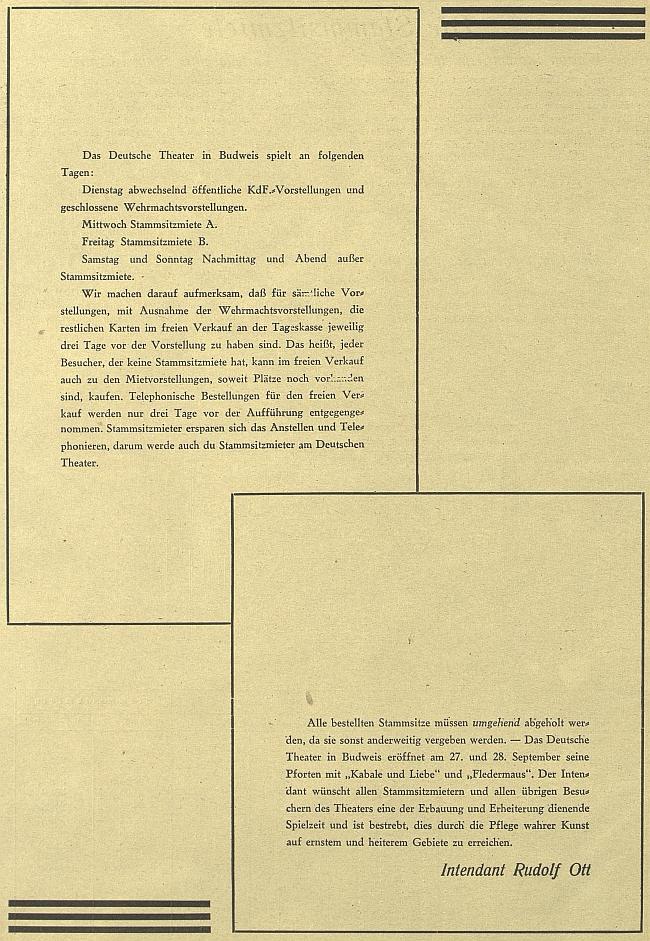Celostránková pozvánka intendanta Otta do divadla v českobudějovickém německém tisku z roku 1941