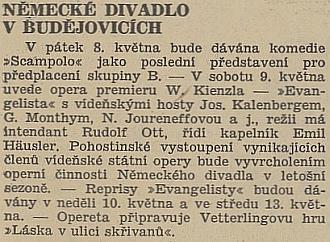 """V roce 1942 český protektorátní tisk zve na hru pod Ottovou režií do německého divadla v Budějovicích, bez přívlastku """"České"""""""
