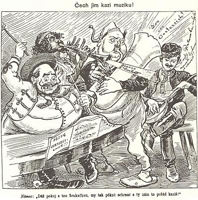 """Tři karikatury (1889, 1898 a 1904) z mladočeského """"satiricko-politického"""" časopisu Šípy, vydávaného nákladem Eduarda Grégra, mají dokládat,     že mocnářství vlastně stojí na Češích, ostatní (samozřejmě zejména Němci, Maďaři a Židé) je jen zrazují a tyjí z něho"""