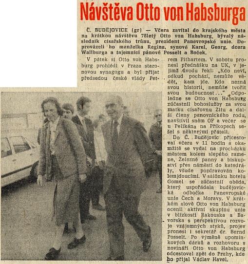 Svědectví o návštěvě v Českých Budějovicích dne 18. března 1990 (za manželkou Reginou vyčuhuje hlava Bernda Posselta)