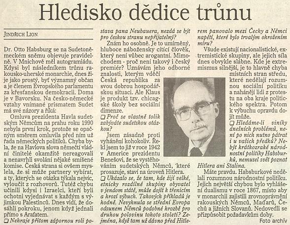 Rozhovor, který poskytl Lidovým novinám na Sudetoněmeckém sněmu v roce 1995