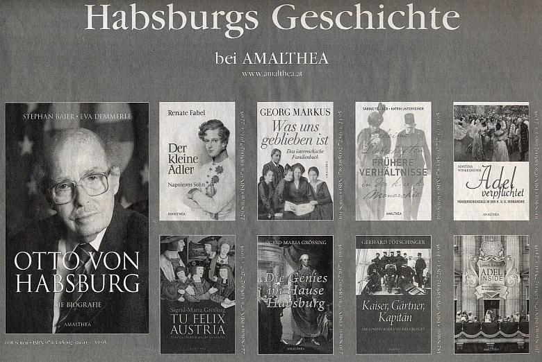 Jeho životopis figuruje tu v nabídce nakladatelství Amalthea vedle jiných titulů s habsburskou tématikou