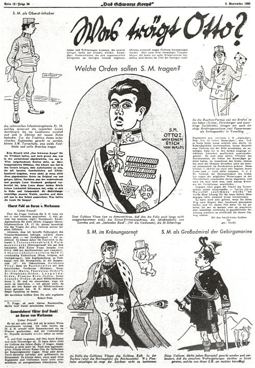"""Tyto posměšné karikatury měly Ottu zostudit v zářijovém čísle periodika nacistické organizace SS z roku 1938,     ladící s Hitlerovou nenávistí k habsburskému """"slovanskému"""" mocnářství"""