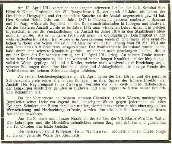 Jeho nekrolog na stránkách výroční zprávy českobudějovické c.k. německé reálky vosudovém roce 1914