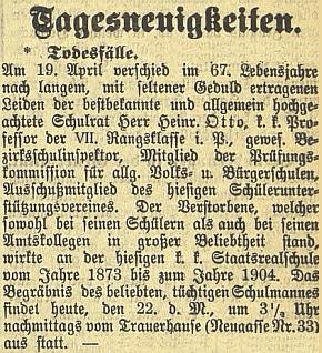Zpráva o jeho úmrtí na stránkách českobudějovického německého listu