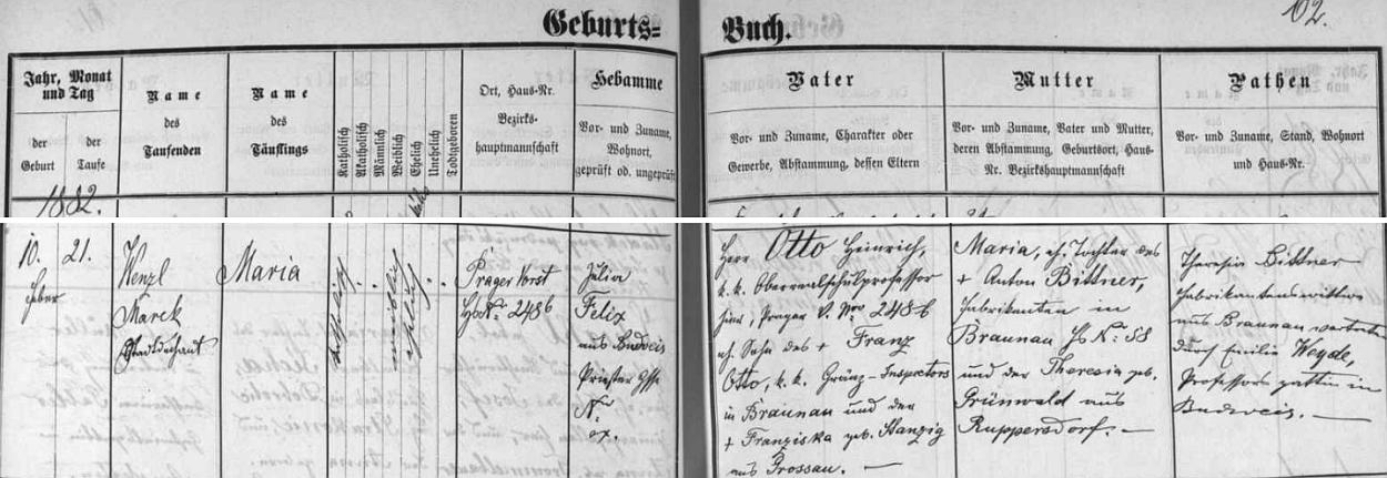 Záznam o narození a křtu jeho dcery Marie v českobudějovické matrice