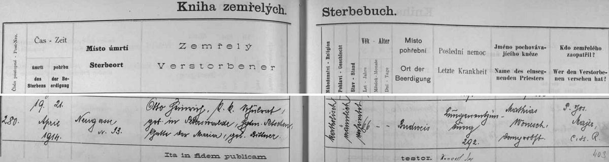 Záznam o jeho skonu v 66 letech na krvácení do mozku v českobudějovické úmrtní matrice