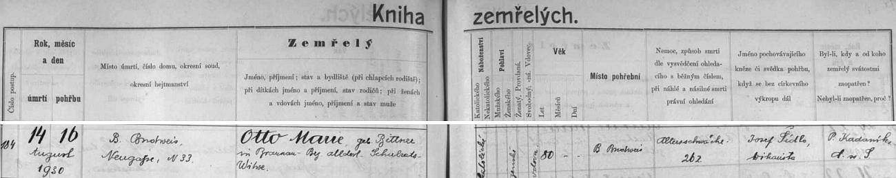 Záznam o úmrtí a pohřbu jeho vdovy v českobudějovické knize zemřelých