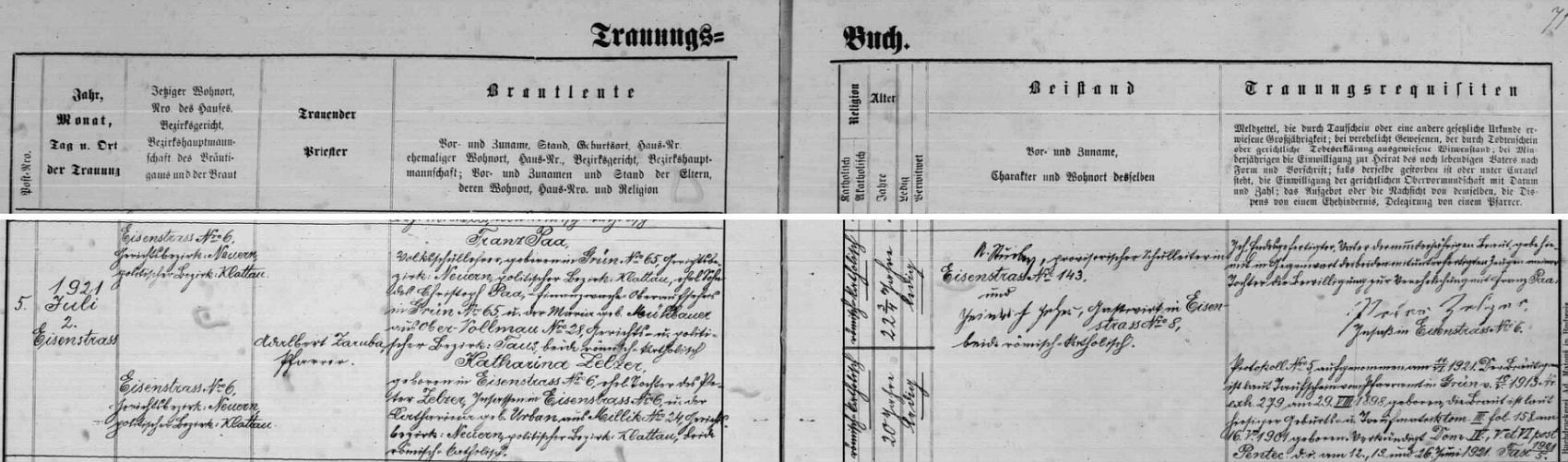 Takto zaznamenal farář Adalbert Zaruba roku 1921 jeho svatbu v Hojsově Stráži do tamní oddací matriky
