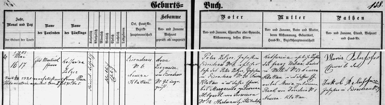 Záznam faráře Adama Martínka o narození Kathariny Zelzerové v Hojsově Stráži i s pozdějším přípsem o její zdejší svatbě