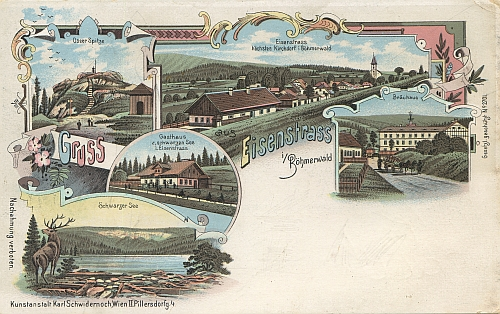 "Tato ""malovaná"" pohlednice Hojsovy Stráže existovala v barevné i ""šedé"" verzi"