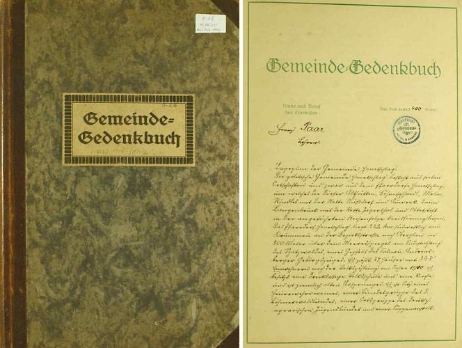 Desky a první strana hodňovské obecní kroniky, uvedená hned na počátku jeho podpisem