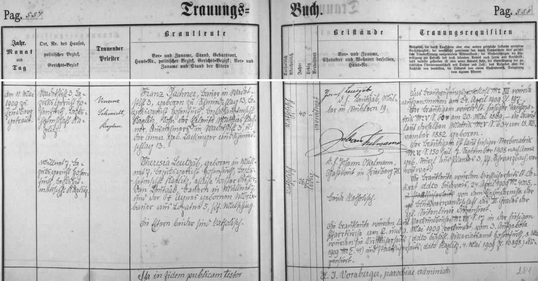 Záznam frymburské oddací matriky o druhé svatbě dědově v roce 1909