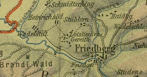 Jeho rodné Hruštice (Wadetstift) na výřezu české a německé mapy z počátku 20. století (viz i Petrus Dolzer a Matthias Hofbauer)