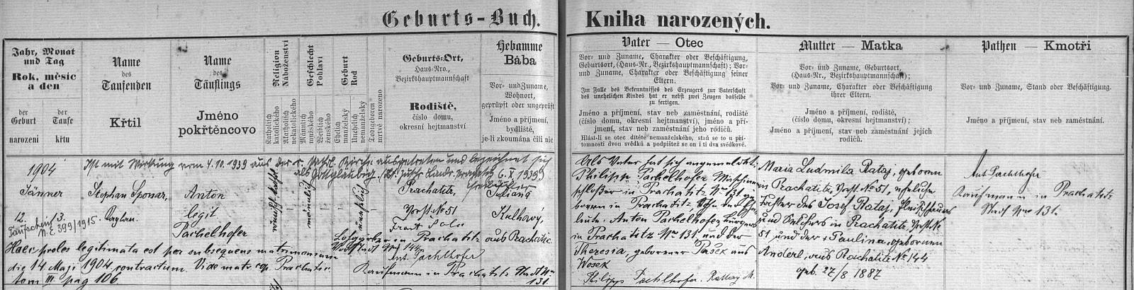 """Narodil se podle záznamu v prachatické matrice 12. ledna roku 1904 v domě čp. 51 matce Marii Ludmile Ratajové rodem z téhož domu (její otec Josef Rataj tam měl řeznictví, matka Paulina, roz. Anderlová, byla rovněž z Prachatic), jako otec se ohlásil (angemeldet) Philipp Pachelhofer, syn Antona Pachelhofera a jeho ženy Theresie, roz. Paškové z Oseku - od října 1939 vystoupil pětatřicetiletý tehdy Pachelhofer z katolické církve (dále je veden jen jako """"gottgläubig"""", tj. """"věřícívBoha"""")"""
