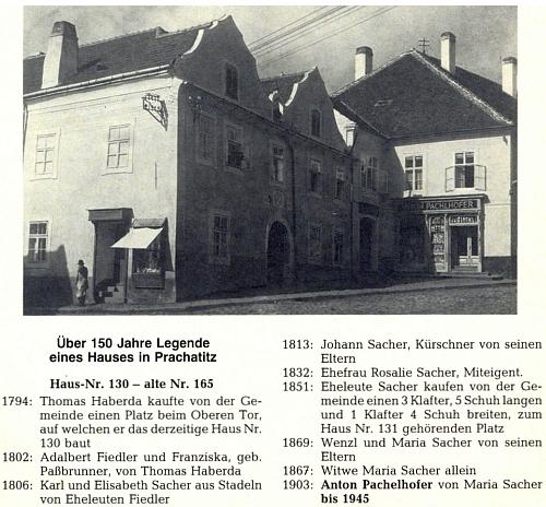 """Historie prachatického domu, kde měl obchod jeho strýc a kmotr Anton Pachelhofer (v křestní matrice se podepsal příjmením Pachlhofer) a kde bydlil i děd Anton Pachelhofer starší, otec jak právě zmíněného kmotra Antona, tak i Philippa Pachelhofera, toho, jenž legitimizoval sňatkem sMarií Ludmilou Ratajovou """"našeho"""" Antona jako svého syna (jinak by sechlapec mohl vlastně jmenovat Anton Rataj)"""