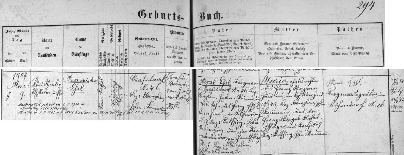 Záznam křestní matriky farní obce Černé v Pošumaví o narození jeho matky s pozdějším přípisem o její svatbě sJosefem Pachnerem dne 1. května roku 1943 ve Světlíku