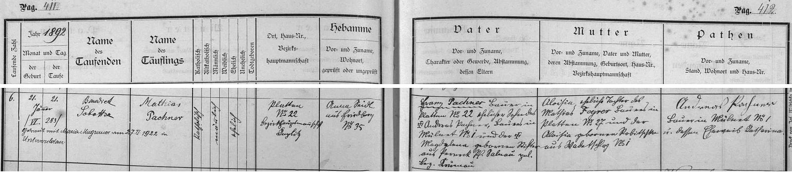 Záznam o otcově narození ve frymburské křestní matrice