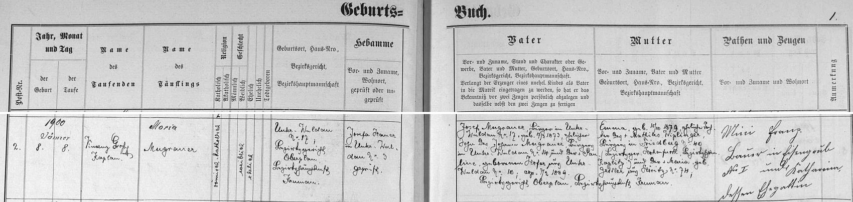 Záznam o matčině narození v křestní matrice farní obce Dolní Vltavice